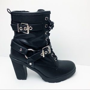 Guess Black Leather High Heeled Boots WGSUSSEX